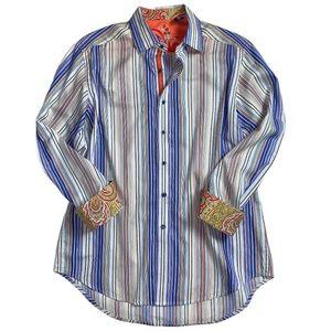 Robert Graham Striped Button Up Paisley Cuff Shirt